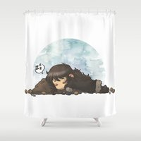 kili Shower Curtains featuring Sleeping on the Walnut Pillow by AlyTheKitten