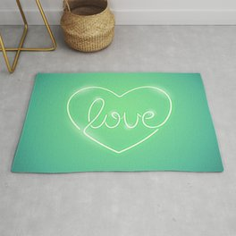 Love Neon Sign Green Rug