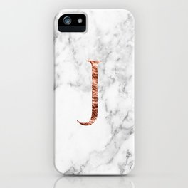 Monogram rose gold marble J iPhone Case