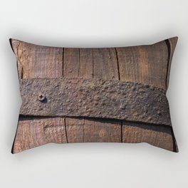 Old wood and rusty metal of a barrel Rectangular Pillow