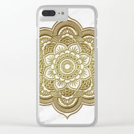 Gold mandala on marble Clear iPhone Case