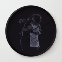 larry stylinson Wall Clocks featuring The Larry Hug by Jen Eva
