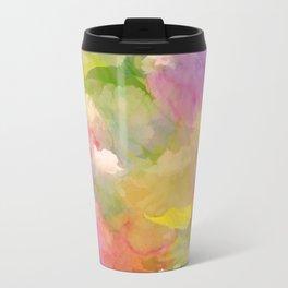 Rainbow Watercolor Floral Abstract Travel Mug