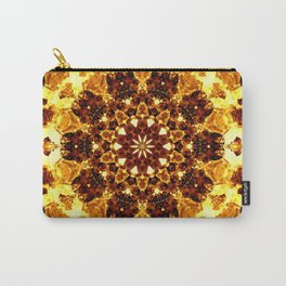 Bright Yellow Brown Abstract Blossom Kaleidoscope Background Carry-All Pouch
