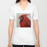 cardinal V-neck T-shirts featuring Cardinal by Michael Creese