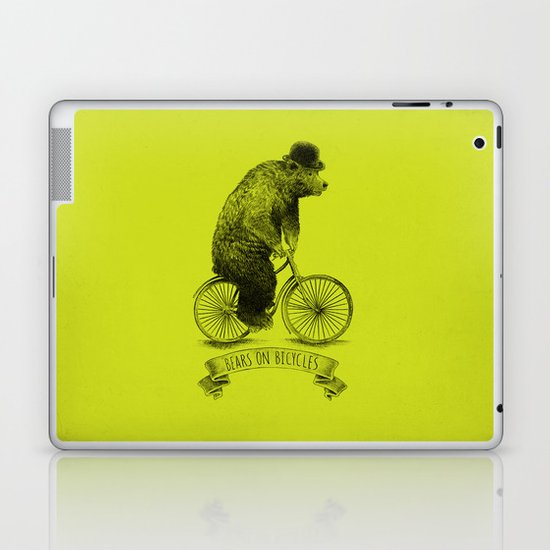 Bears on Bicycles (Lime) Laptop & iPad Skin