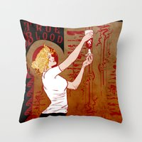 true blood Throw Pillows featuring True Blood Nouveau by Nana Leonti