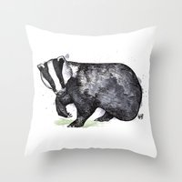 badger Throw Pillows featuring Badger by ZOO (William Redgrove)