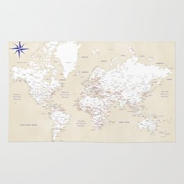 "Cream, white, red and navy blue world map, ""Deuce"" Rug"