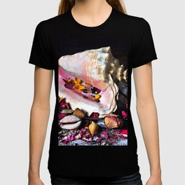 Maritime Symphony with Sea Shells and Roses T-shirt