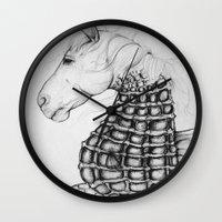 sea horse Wall Clocks featuring Sea Horse by Stephanie Darling