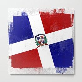 Dominican Republic Distressed Halftone Denim Flag Metal Print