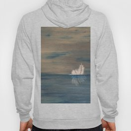 Floating Feather. Abstract Painting by Jodi Tomer. Abstract Feather on Water. Hoody