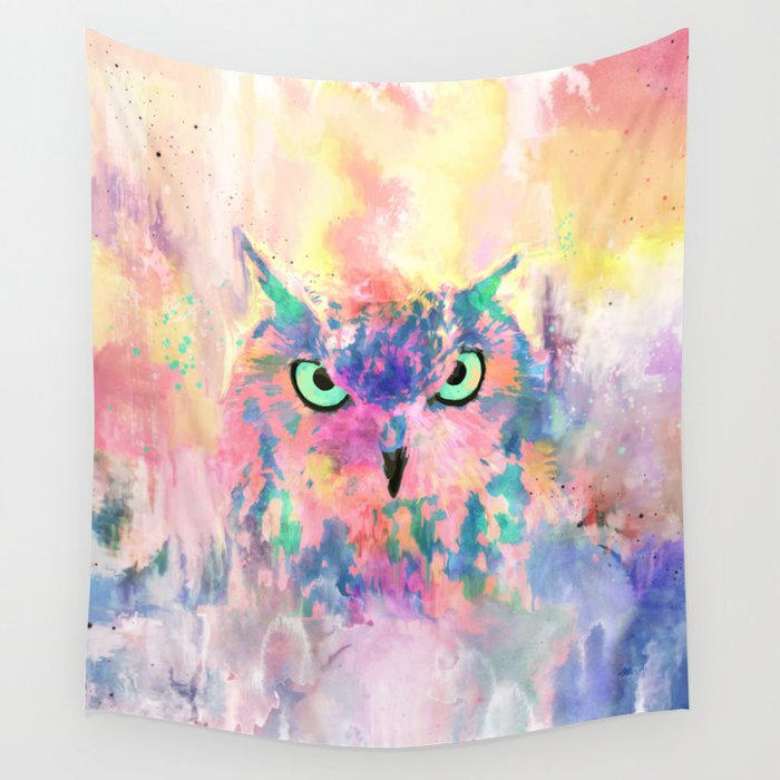 Watercolor eagle owl abstract paint Wall Tapestry