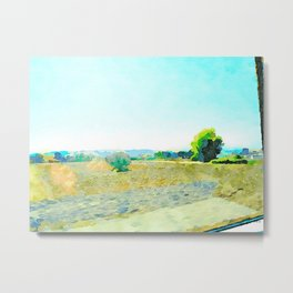 Travel by train from Teramo to Rome: landscape with countryside seen from the train window Metal Print