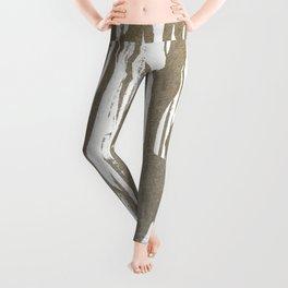 Abstract Taupe Splash Design Leggings
