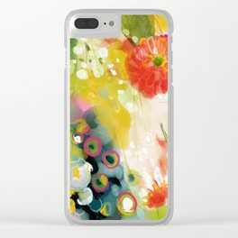 abstract floral art in yellow green and rose magenta colors Clear iPhone Case