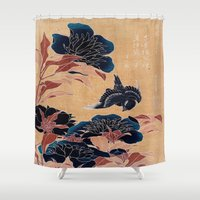 japanese Shower Curtains featuring japanese flowers by PureVintageLove