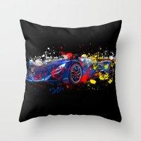 sport Throw Pillows featuring sport car by mark ashkenazi