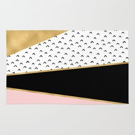 Pink & Gold Geometric Triangle Pattern Rug