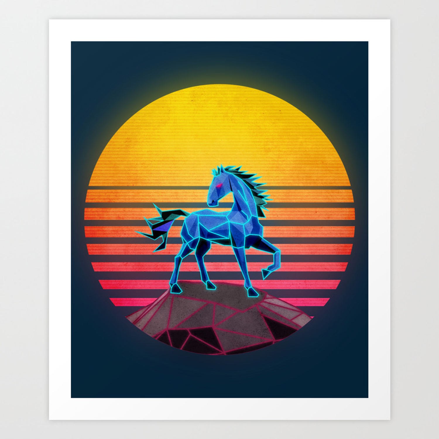Synthwave Neon Retro Majestic Horse Art Print By Paul Verseckas Society6