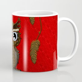 Wonderful steampunk owl on red background Coffee Mug