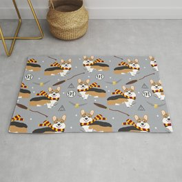 corgi wizard welsh corgis potter wizarding school pattern Rug