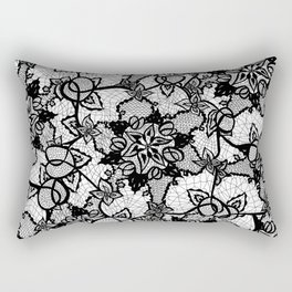 Elegant floral black hand drawn lace pattern Rectangular Pillow
