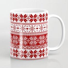 Red Winter Fair Isle Pattern Coffee Mug