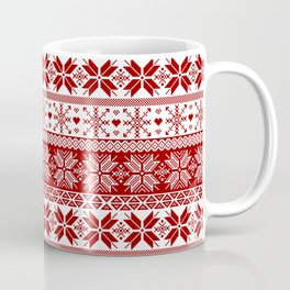 Red Winter Fair Isle Pattern Coffee Mug
