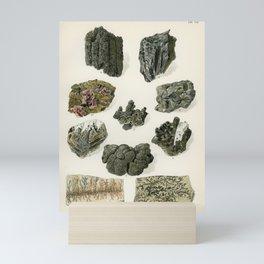 Vintage Gray Mineral Crystal Illustration from the 1907 book Atlas Mineralu   Mini Art Print