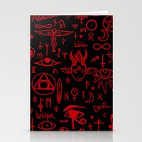 notebook Stationery Cards featuring notebook scribbles for satan by Mel Fox