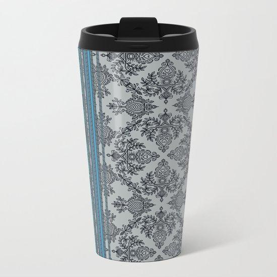 Teal, Aqua & Grey Vintage Bohemian Wallpaper Stripes Metal Travel Mug