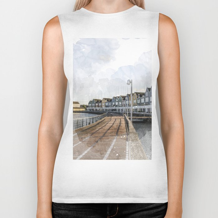 Rainbow Houses. Architectural watercolor and ink drawing Biker Tank