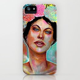 Flower Rainbow Girl in Mixed Media iPhone Case