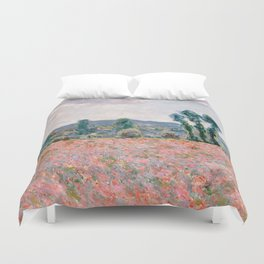 Poppy Field in Giverny by Claude Monet Duvet Cover