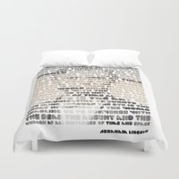 lincoln Duvet Covers featuring Lincoln by Sandra T