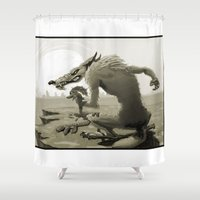 coyote Shower Curtains featuring Angry coyote by MenoTonik