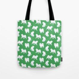 Samoyed Pattern (Green Background) Tote Bag
