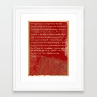 catcher in the rye Framed Art Prints featuring Catcher in the Rye by The Quotes Project