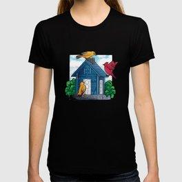 Birds House colorful birds sitting on birds house T-shirt
