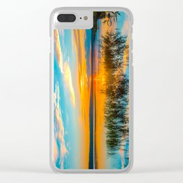 Sunset on the river Clear iPhone Case