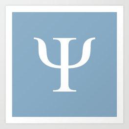 Greek letter Psi sign on placid blue background Art Print