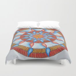 Water and Fire Mandala Duvet Cover