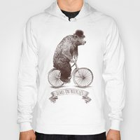 bears Hoodies featuring Bears on Bicycles by Eric Fan