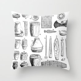 Array of Stone Age tools Throw Pillow