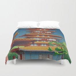 Japanese Woodblock Print Vintage Asian Art Colorful woodblock prints Pagoda Shinto Shrine Duvet Cover