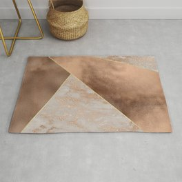 Copper Foil and Blush Rose Gold Marble Triangles Rug