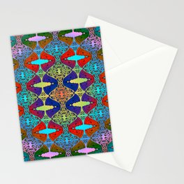 Pizza Party double rainbow gradient doodle Stationery Cards