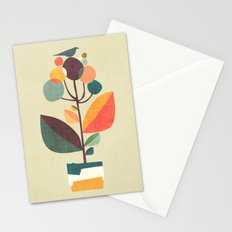 Potted plant with a bird Stationery Cards